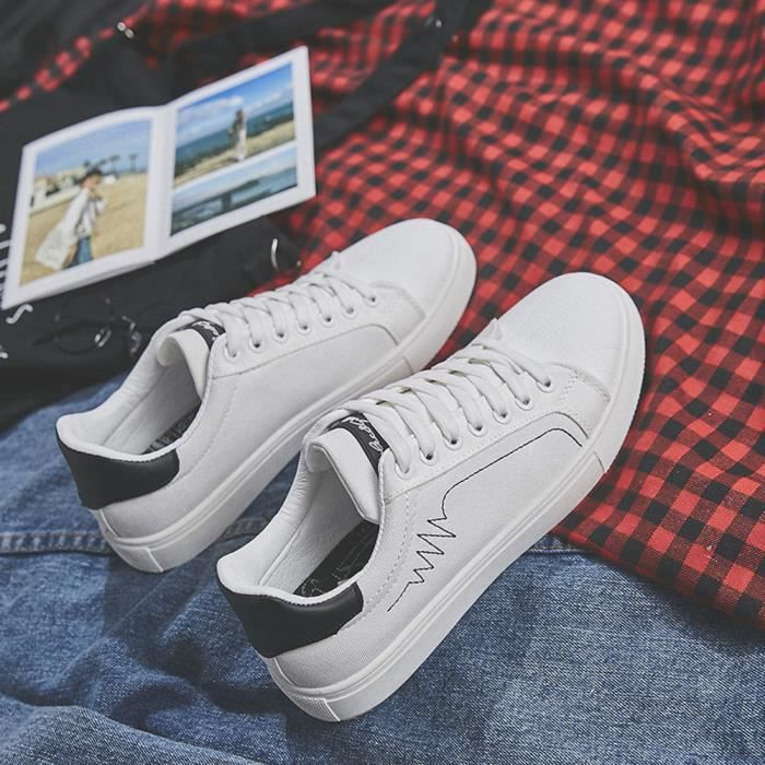 BASKET Chaussures respirantes Homme Toile Blanc skate Chaussures de décontractées zWw64TZZY