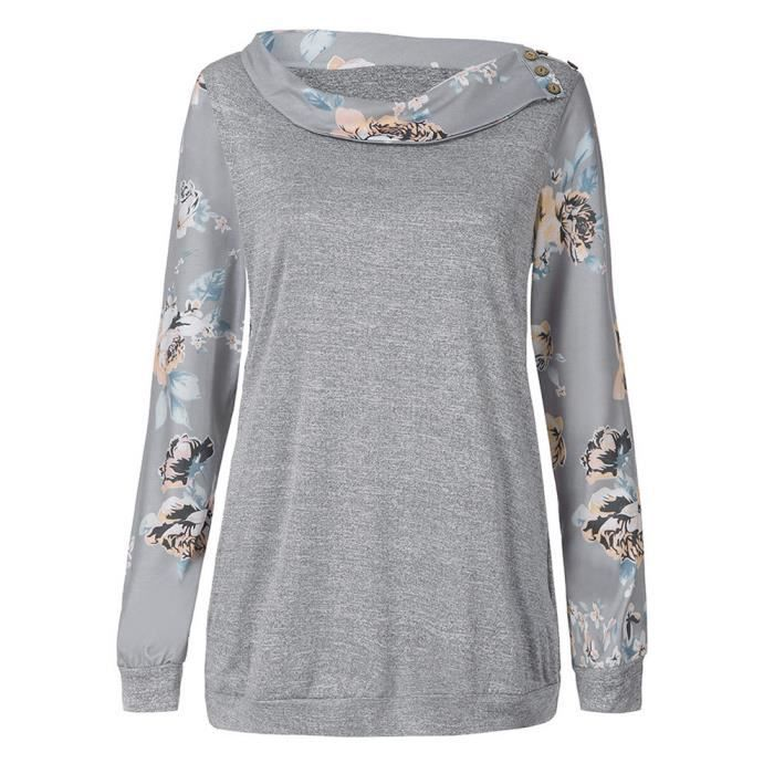 Gris Manches Floral Casual Chemisier Longues Femmes Pull Chemises Cooldiscovere11110 Sweat q8xEUCEwZ
