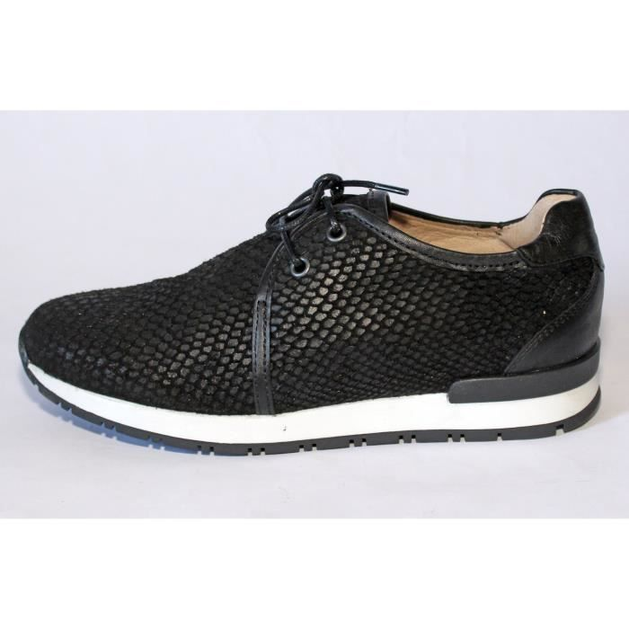 BASKETES CUIR NOIR CHAUSSURES MODE FEMME T 39 NEUVES OoDqI