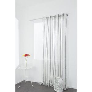 Rideaux voilage transparent blanc achat vente pas cher for Voilage grande hauteur