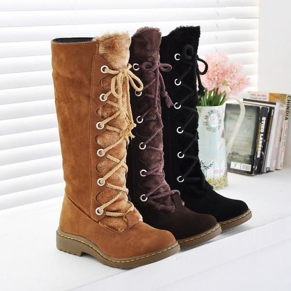 hiver Mode Vintage Bottes lacées Talons plat Med-mollet Bottes Cowboy d'hiver Ajouter Chaussures de fourrure Femme de grande taille
