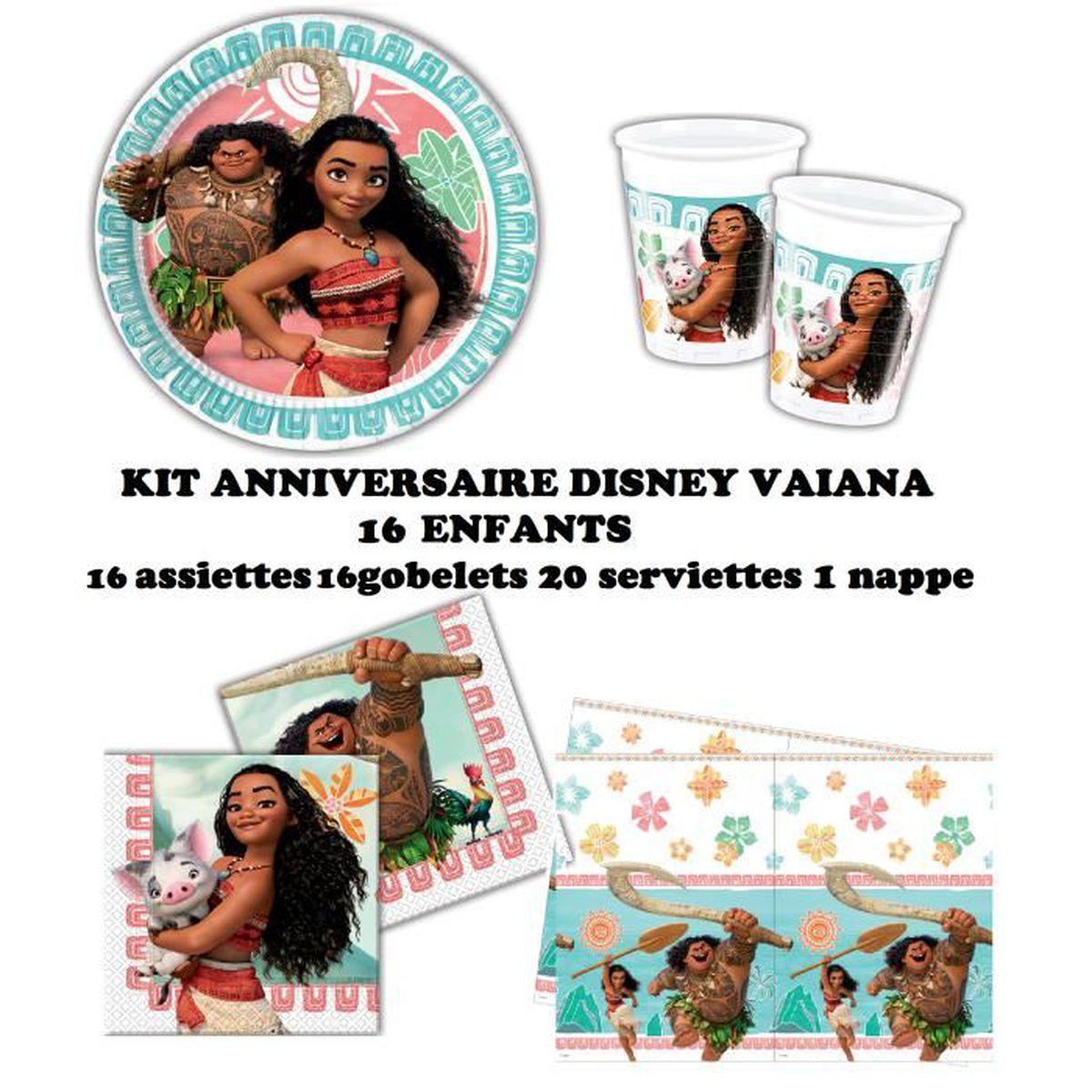 kit anniversaire disney vaiana complet 16 enfants 16 assiettes 16 gobelets 20 serviettes 1. Black Bedroom Furniture Sets. Home Design Ideas