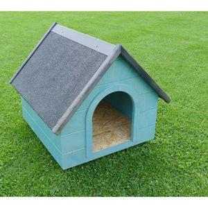 NICHE Niche en bois pour chien toit pointu taille L bleu