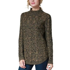 Womens Slit Mock Neck Marled Cable Knit Pullover Sweater Zbf8s
