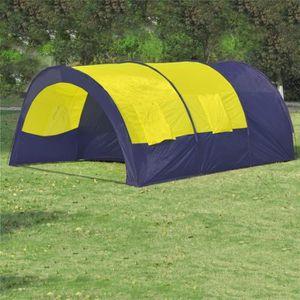 TENTE DE CAMPING Tente dôme familiale 6 places bleue et jaune