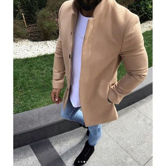 Affaires Chaud D'hiver Outwear Hommes Couleur Solide Kaki Laine Coat De Manteau Trench Casual 50dqdHUw