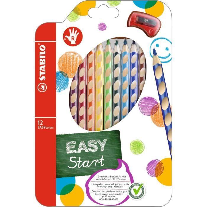 STABILO Étui thermoformé de 12 Crayons de couleur Easycolors + 1 Taille-crayon