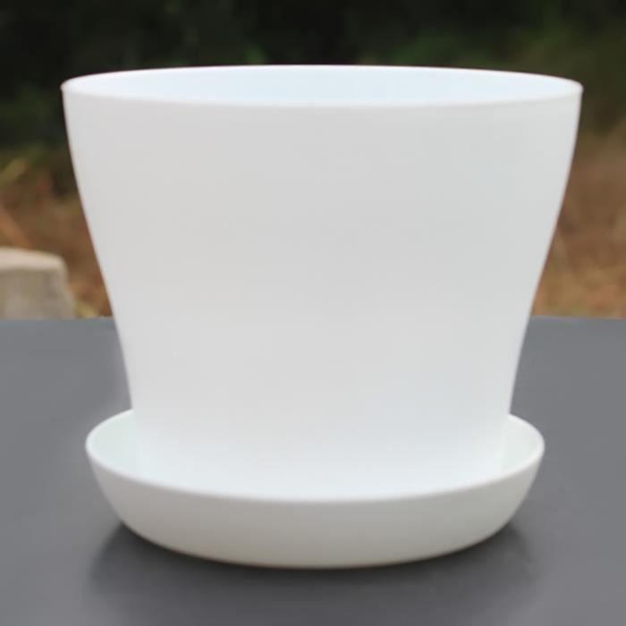Blanc 14 12cm D H Pot De Fleur Avec Soucoupe Rond