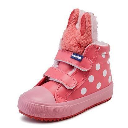 Les chaussures pour enfants nouvelles chaussures de filles bottes imperméables bébé chaussures chaudes, rose 35