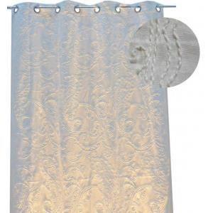 Rideau motif lin brodé floral - Achat / Vente rideau - Cdiscount