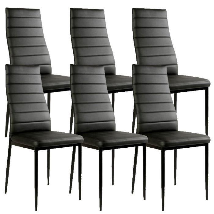lot de 6 chaises noir matelass design achat vente canap sofa divan soldes d s le 9. Black Bedroom Furniture Sets. Home Design Ideas