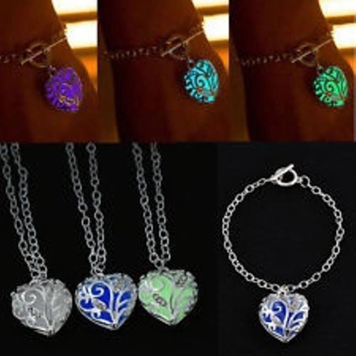 Bijoux Phosphorescent pendentif coeur lumineux chains bracelet phosphorescent bijoux foncé  ss6611a1
