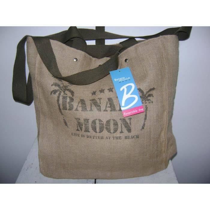 sac cabas banana moon toile de jute reversible kaki achat vente panier sac de plage. Black Bedroom Furniture Sets. Home Design Ideas
