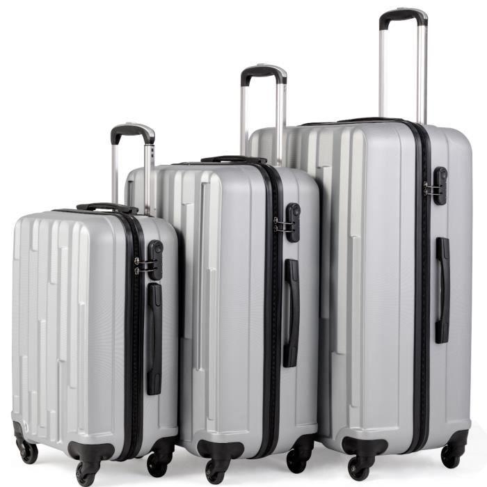 73e7e7a683 Coque rigide poids léger 4 Roues Spin Valise ABS Bagage Case-Noir Lot de 3