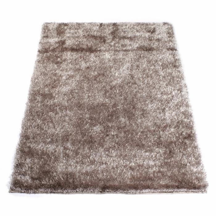 tapis shaggy taupe 60 x 120 cm - Tapis Taupe