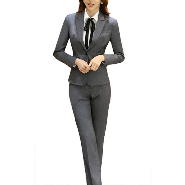 d466f66c61f079 Femmes Tailleurs Pantalons De Bureau 2 Pièces Revers Bouton Costume ...