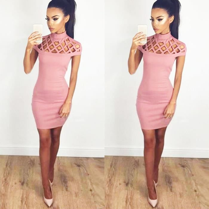 Femmes Mode Sexy Slim Stand Collar évider Solid Bodycon Pencil Party Club Mini Robe courte