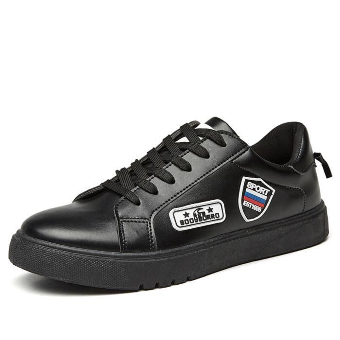 Noir Baskets qualité cuir Hommes skate Chaussures Haute Mocassins de Casual xwqB6zU