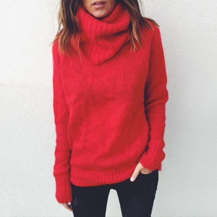 Pull Femme Chaud Hiver Chandail Tricot Col Roulé Mode en Mohair Coton  Manche Longue Rouge M-3XL dda02fe5c28