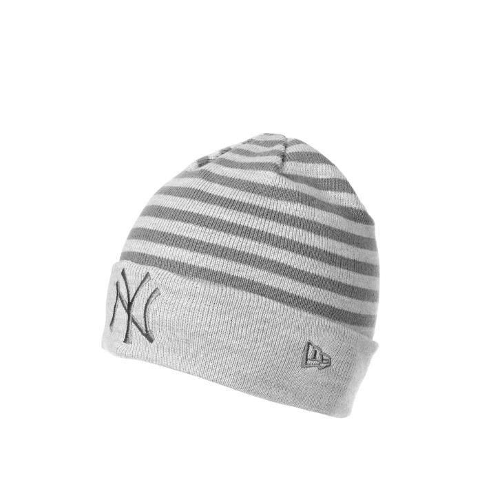 Bonnet New Era Cuff Stripe Gris Homme Gris - Achat   Vente bonnet ... a7dbd77a9408