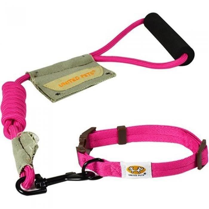 United Pets Laisse/collier Pour Chien Rose Grand 46-68 Cm