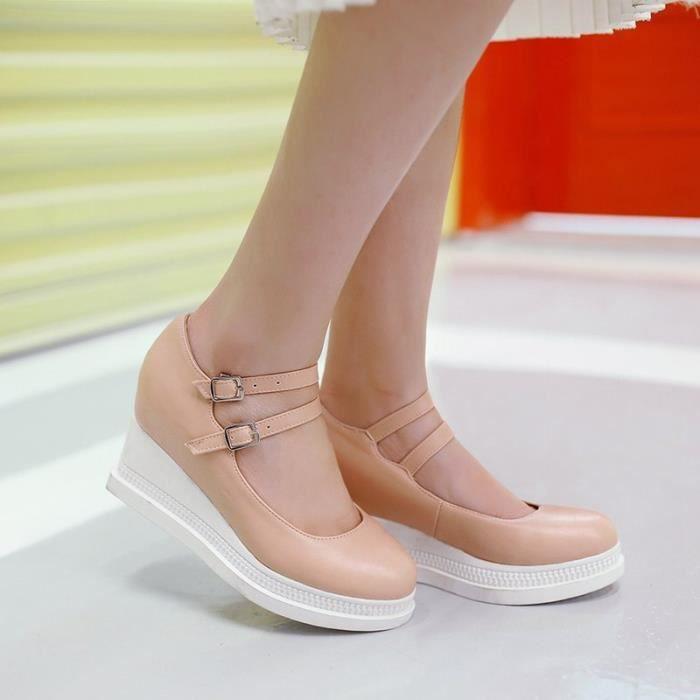 Chaussures Femme élégante Plateforme Ronde En PU Cuir Toutes les pointures de la 35 à la 43