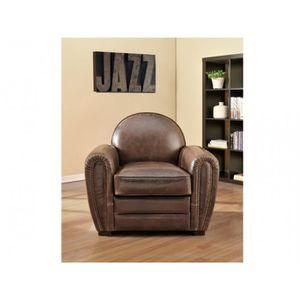 fauteuil club cuir marron achat vente fauteuil club cuir marron pas cher soldes d s le 10. Black Bedroom Furniture Sets. Home Design Ideas
