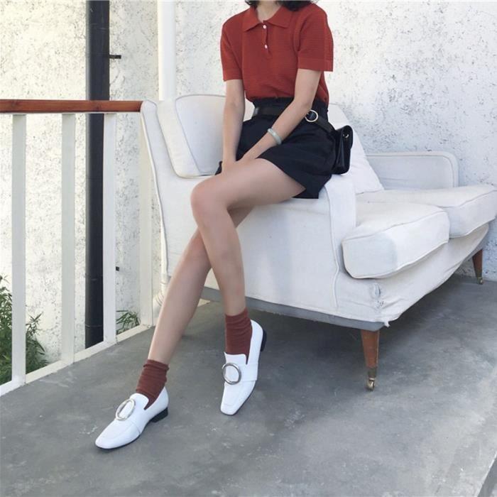 cuir Pompes souple noir rue styleLadies épaisse Chaussures Stiletto 35 HeelsWomen en Chaussures New qEwInO4