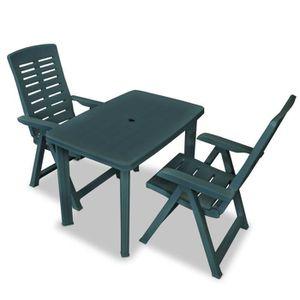 SALON DE JARDIN Ensemble De Mobilier De Jardin 3 Pcs 1 Table Et 2