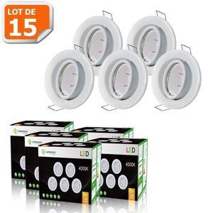 SPOTS - LIGNE DE SPOTS LOT DE 15 SPOT LED ENCASTRABLE COMPLETE ORIENTABLE