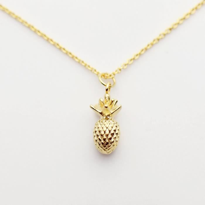 Womens Gold Pineapple Necklace Tropical Fruit Necklace 3d Pendant Necklace Friendship Pendant Neck PPJHA