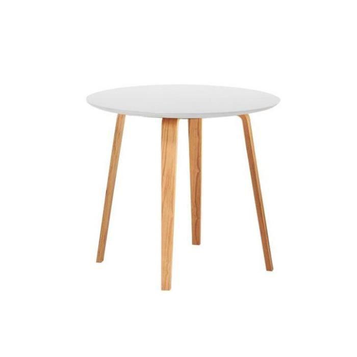 petite table scandinave ronde bois blanc - lack plateau blanc
