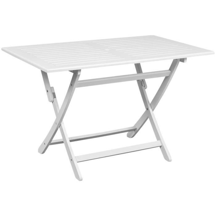 VidaXL Table d\'Extérieur en Bois d\'Acacia Rectangulaire Blanche ...