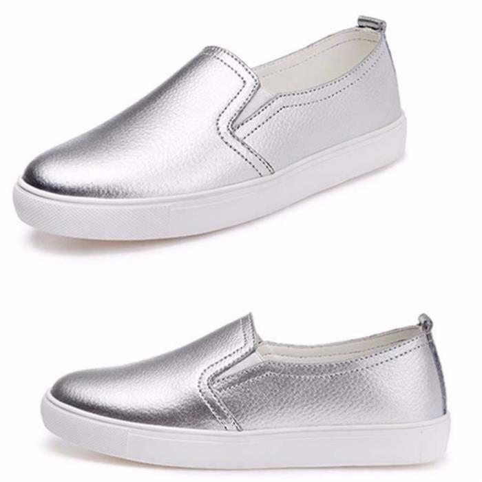Chaussure femme hydrofuge doux argent Luxe 2017 été Poids Léger Loafers Confortable Moccasin Durable Grande Taille 40