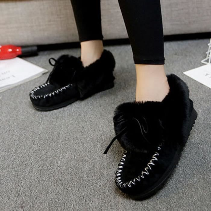 Chaussures Fourrure Bordée Femme Wy808 mode Deessesale Neige De Lazy Plates Bottines Bottes Chaud D'hiver UF0tFxwB
