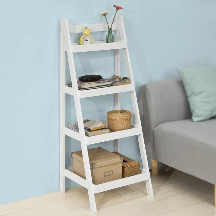 sobuy frg221 w tag re chelle escalier tag re style chelle avec 4 niveaux de rangement. Black Bedroom Furniture Sets. Home Design Ideas