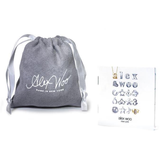 Alex Woo Mini Addition argent 925 coeur rose fluo Bracelet cordon réglable 1TJ9L8