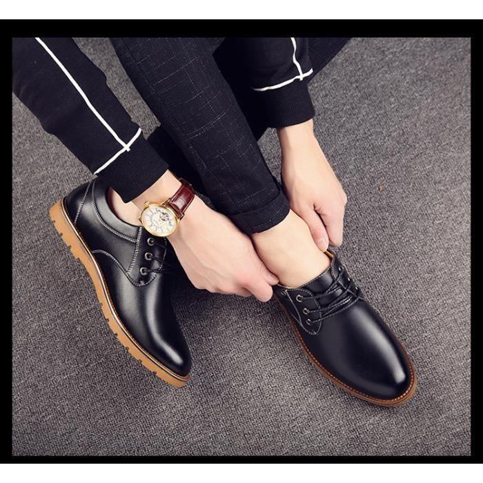 Chaussures en cuir pour hommes Mocassins formels Oxford Chaussures respirantes Plus Size 38-44 s3EnU