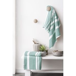 FINLANDEK Set de 2 Serviettes de toilette KYLPY 50x100 cm rayures vert de gris et blanc