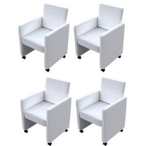 FAUTEUIL 4pcs Fauteuil chaises à roulettes de salle à mange