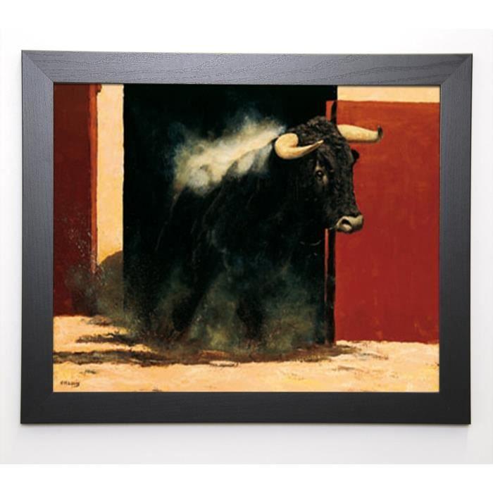 Louis ch. image encadrée sortie de toril 47x57 cm noir