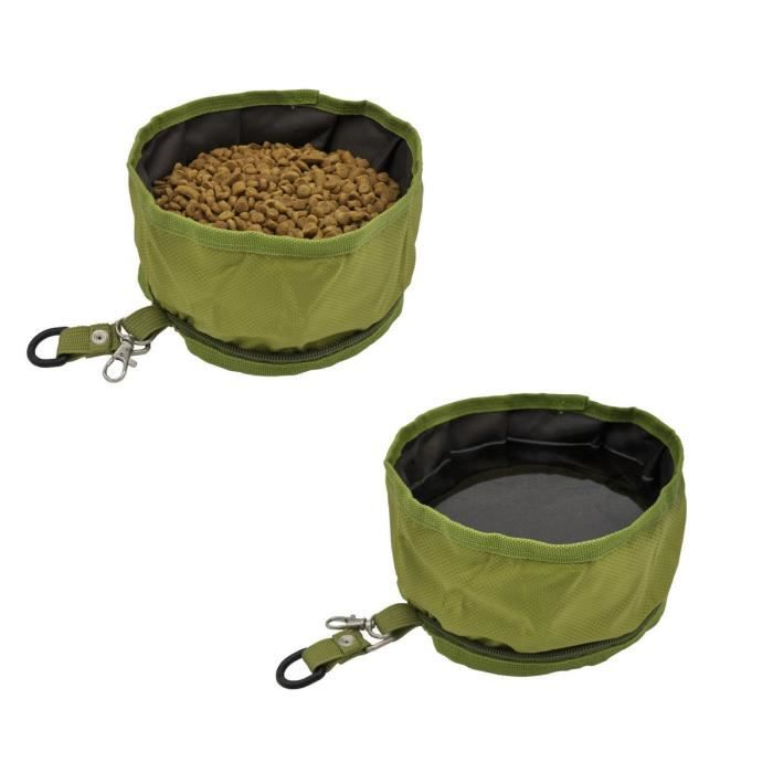 Pet Dog Travel Collapsible Bowls Oxford Fabric Waterproof Portable Foldable Food 3psqp3
