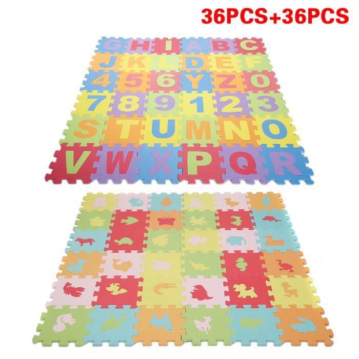 Puzzle Tapis Mousse Bebe Alphabet 26 Lettres 10 Chiffres 36 Pcs