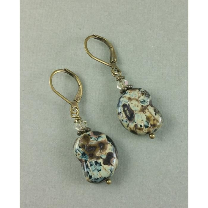 Womens Nautilus Seashell Autumn Carved Glass Antique Brass Earrings SQXZC