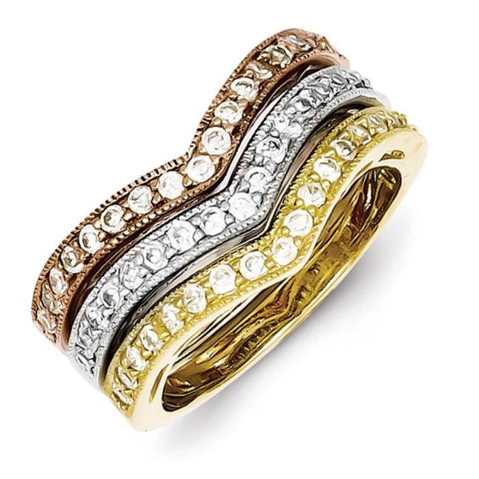 Trio-Argent 925/1000–Vermeil CZ bagues empilables Taille N 1/2–JewelryWeb