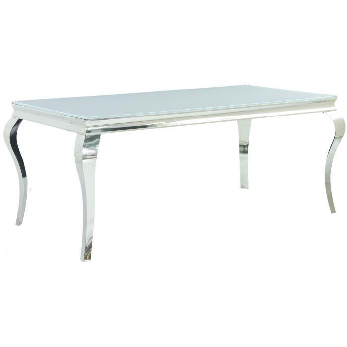Table De Salle à Manger Design Baroque En Acier Inoxydable Poli Et Verre  Trempé Sécurit Blanc 12mm L. 180 X P. 90 X H. 75 Cm