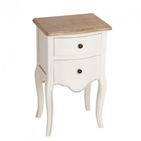 chevet table de chevet romantique 2 tiroirs en bois crme