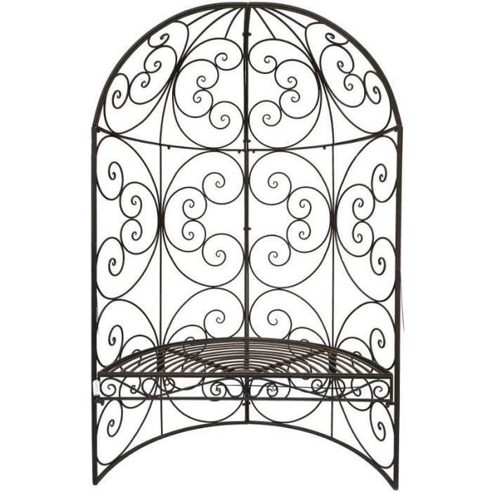 Banc Arche Demi-Lune de Jardin en Fer 185 cm 119 cm Marron ...