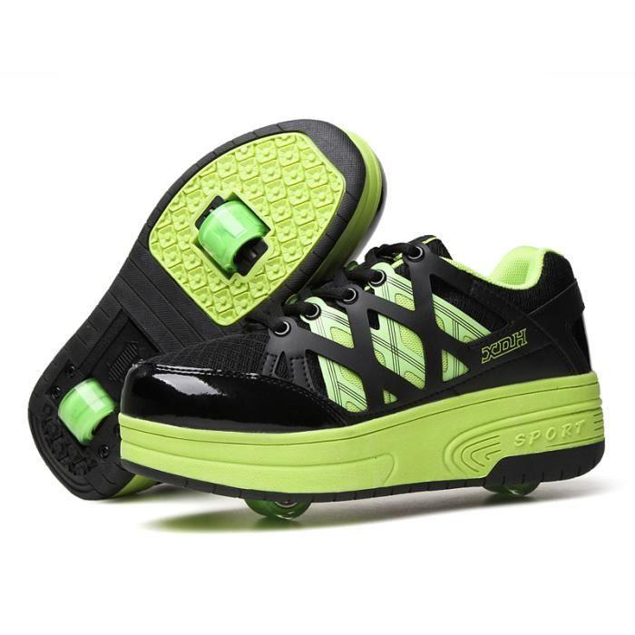 heelys enfants chaussures roulettes gar ons filles double roue baskets noir vert noir vert. Black Bedroom Furniture Sets. Home Design Ideas