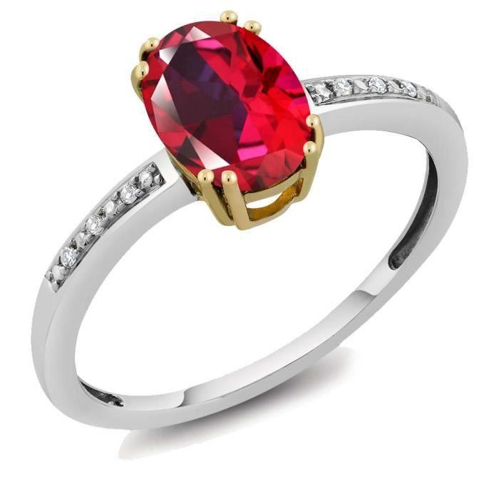 Bague Or Blanc et Jaune 10k - Topaze Swarovski rouge flamboyant ovale et Diamant - 1.34 ct